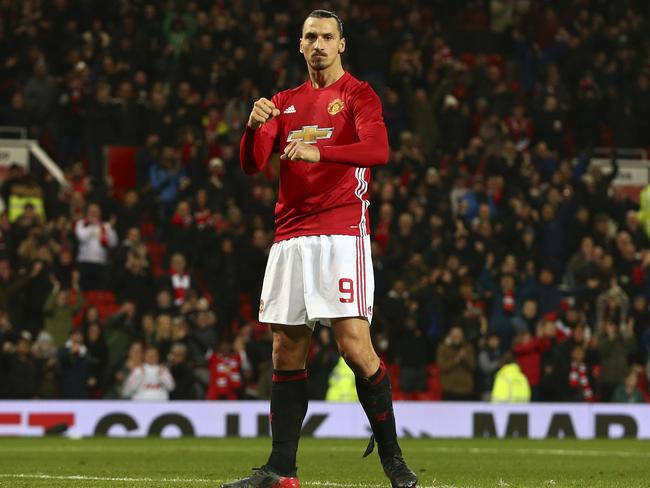 Manchester United's Zlatan Ibrahimovic celebrates after scoring his sides fourth.
