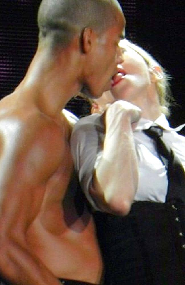 Madonna and her bare-chested boyfriend Brahim Zaibat in lustier days.