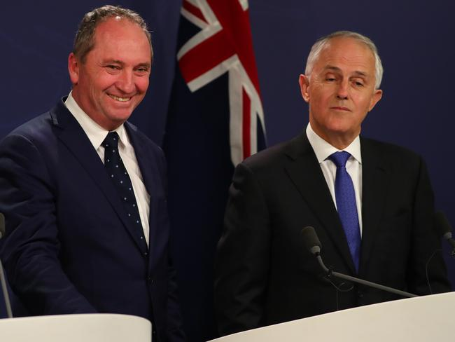 Deputy PM Barnaby Joyce with Prime Minister Malcolm Turnbull. Joyce was found to have dual citizenship with New Zealand. Picture: Ryan Osland/The Australian
