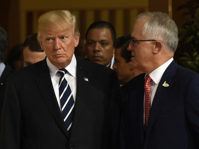 US President Donald Trump and Prime Minister Malcolm Turnbull met again for the G20 summit in Hamburg, northern Germany, in July. Picture: AFP