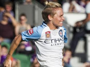 Jess Fishlock of Melbourne City celebrates a goal during the Women's W-League final between the Perth Glory and Melbourne City FC at nib Stadium in Perth, on Sunday, Feb.12, 2017. (AAP Image/Tony McDonough NO ARCHIVING, EDITORIAL USE ONLY