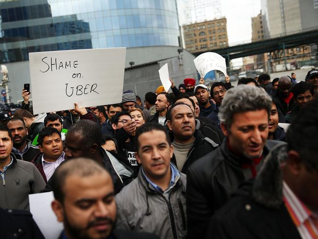 Hundreds of drivers gathered at Uber's New York City headquarters on Monday. Picture: Spencer Platt