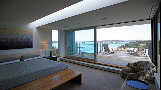 The master bedroom of the home of collar bomb hoax victim Maddie Pulver. The house features in a new episode of Channel 7's home design series, Sandcastles. Picture: Channel 7.