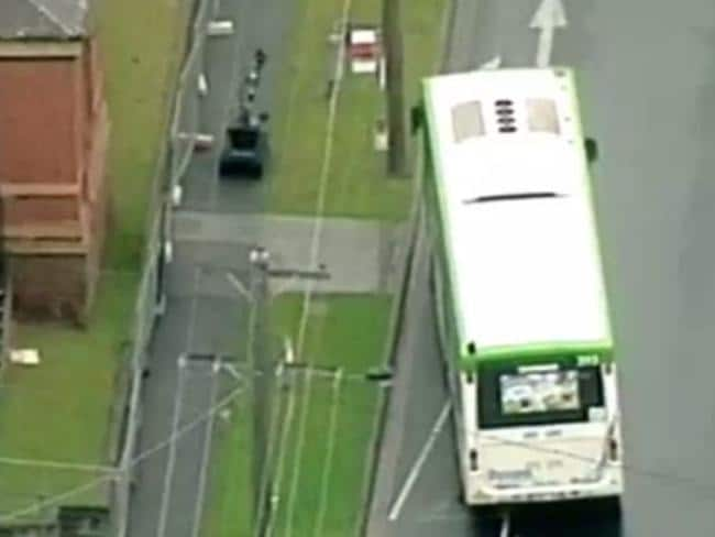 Police at the scene in Moonee Ponds. Image: Channel 7