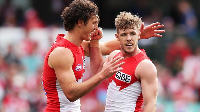 Kurt Tippett and Luke Parker celebrate a goal at the weekend. Picture: Getty Images