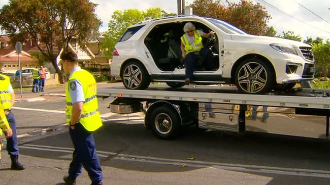 Salim Mehajer's Mercedes after the accident on Delhi St, Lidcombe. Picture: Rob Quee