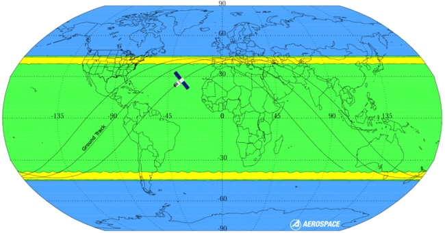 The areas believed Tiangong-1 is believed most likely to crash are represented by the yellow bands. The green band means there is some risk, while the blue areas are believed to be outside the space station's reach. Picture: Aerospace