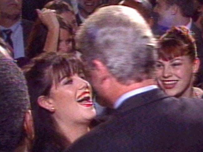 CNN TV video still from 1996 of former White House intern Monica Lewinsky greeting Mr Clinton at time of their alleged affair.