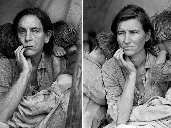 Recognise the original? Sandro Miller's take on Dorothea Lange's classic Migrant Mother, 1936.