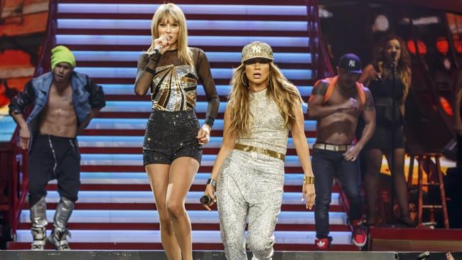 Taylor Swift performs with special guest Jennifer Lopez in LA. Getty Images