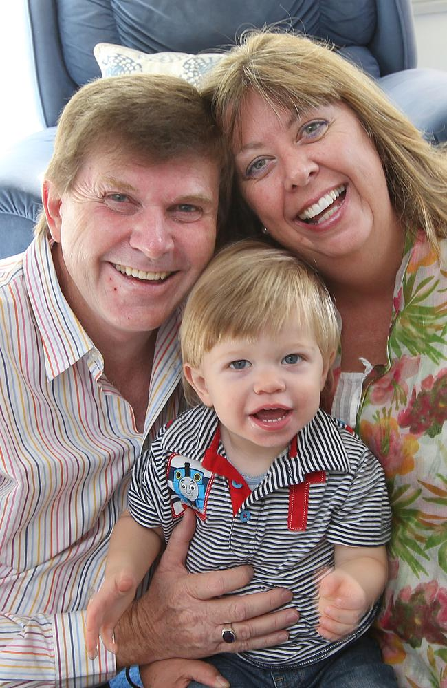 Anthea Nicholas, 56, became a mother at 50. She is pictured here with husband Peter and son Nicholas.