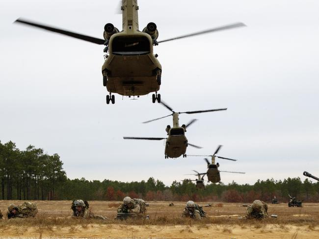 Last month, the 82nd Airborne Division conducted an air assault and deep attack exercise in Nevada involving 48 rotary wing aircraft and a four-gun artillery raid live fire. Picture: US Army