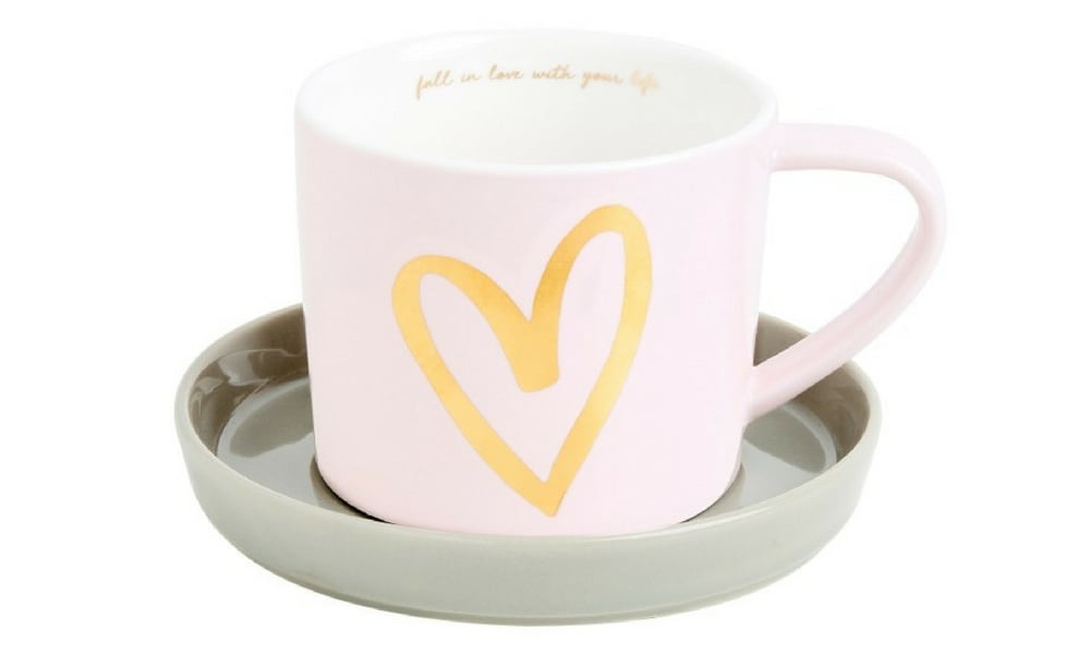 CUP AND SAUCER $16.95 – (KIKKIK) For a sweet present the porcelain Love Life cup and saucer is a no brainer. It's perfect for your desk at work or at home and a lovely reminder to take time for yourself for a cuppa.