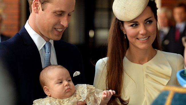 Britain's Prince William and Catherine, Duchess of Cambridge with their son Prince George as they arrive at Chapel Royal in St James's Palace in London, for the christening of the three month-old prince.