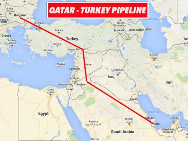 The proposed gas pipeline from Qatar via Saudi Arabia, Jordan, Syria and Turkey to Europe.