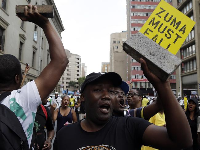 Members of the African National Congress are calling for Mr Zuma to step down. Picture: Themba Hadebe/AP