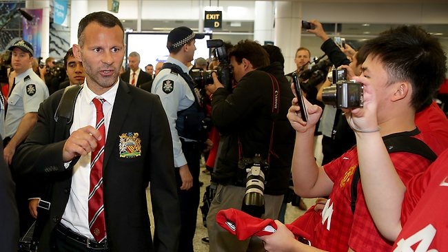 Manchester United's Ryan Giggs walks through Sydney Airport after the team arrived on a Private Charter aircraft at Sydney International Airport Picture: Porteous Gregg