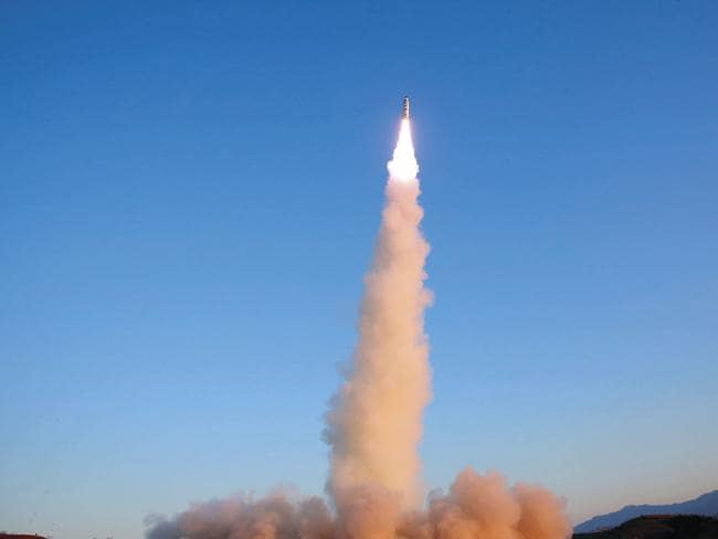 a Pukguksong-2 missile is launched at an undisclosed location in North Korea. Picture: KCNA/AFP