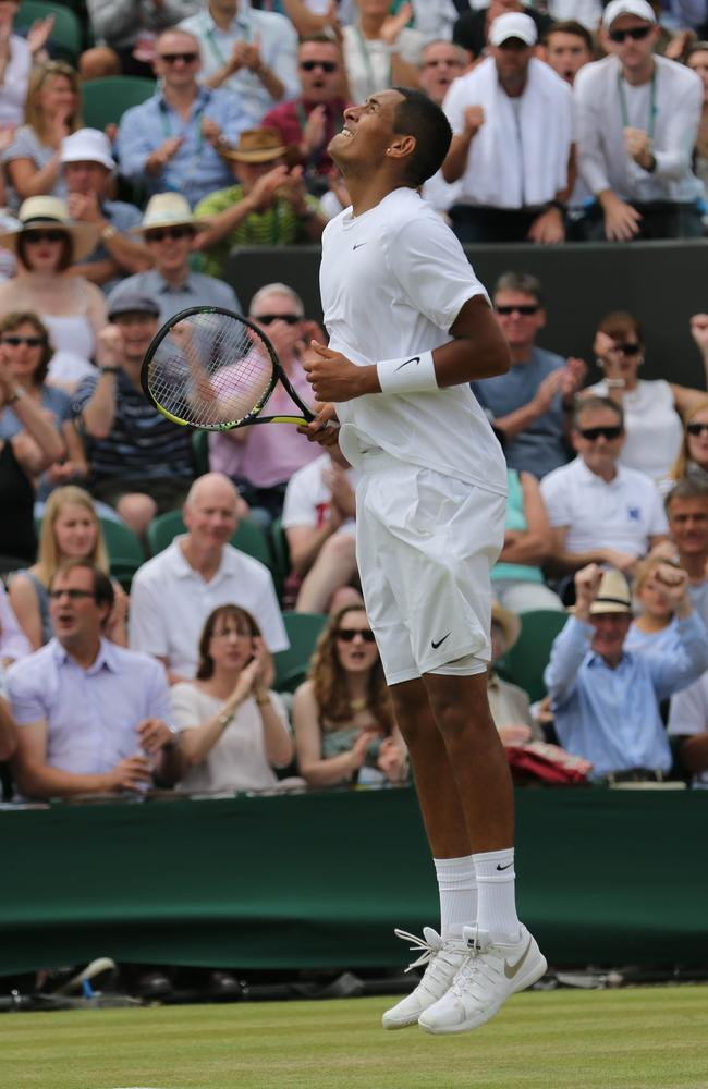 Kyrgios' natural exuberance comes to the fore after winning a game against Gasquet.