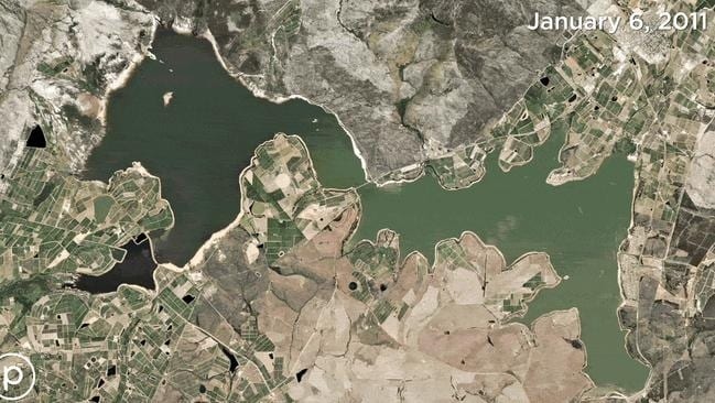 Then: The dam in January 2011. Picture: Planet Labs, Inc