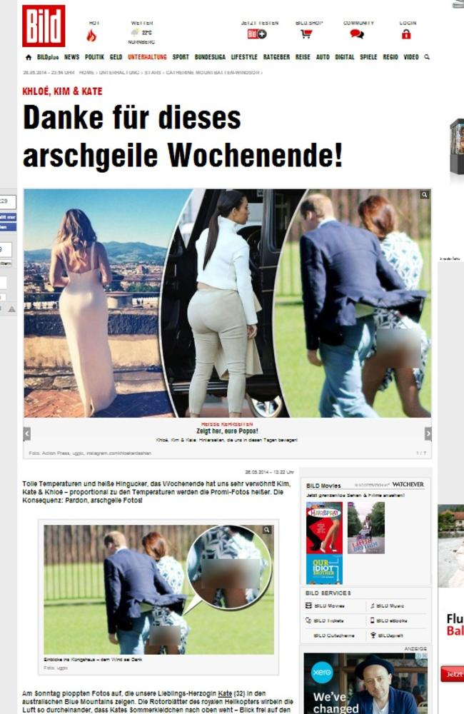 Exposed ... The Duchess of Cambridge is at the centre of a new privacy row today after a German tabloid published a picture of her butt. Picture: Bild