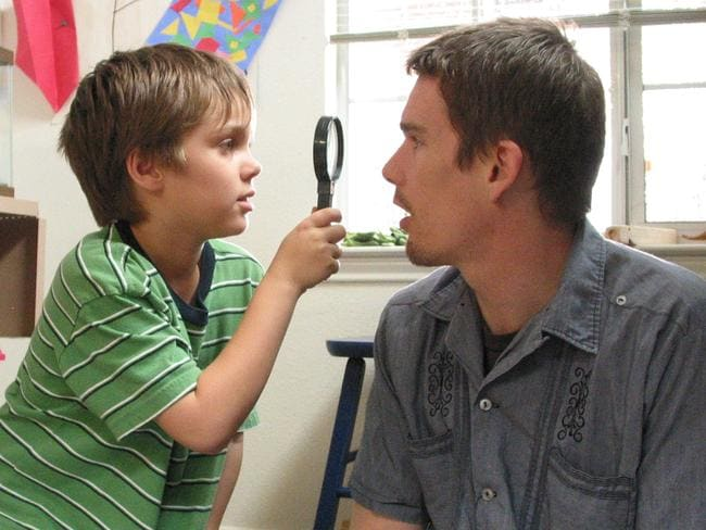 Playing together ... Ellar Coltrane and Ethan Hawke in Boyhood.
