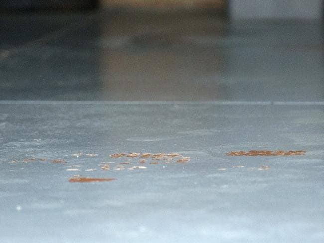 Blood on garage floor at the Mill Park home. Picture: Sarah Matray