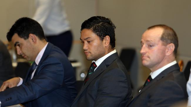 Issac Luke with coach Michael Maguire at the NRL judiciary.