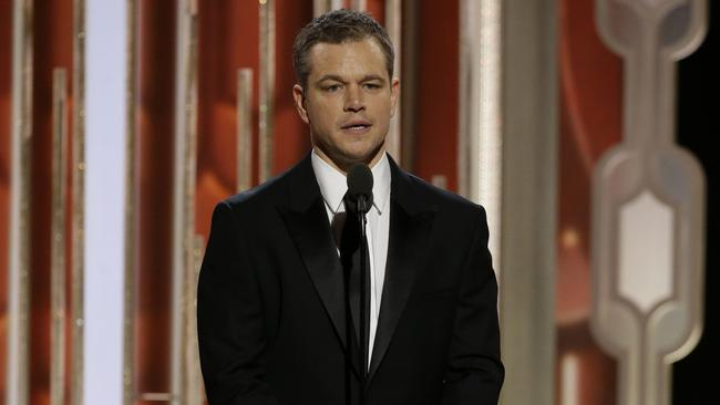 Matt Damon doing his best to follow up that mic-drop of a joke from Ricky Gervais. Picture: AP