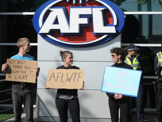 Protesters demonstrate outside AFL House at Docklands after the recent AFLW decision to not allow transgender players in the draft.