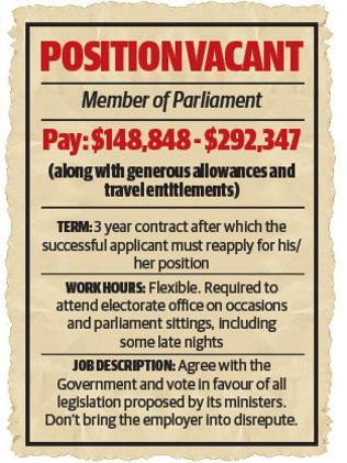 What the job ad for Campbell Newman's MPs might look like.
