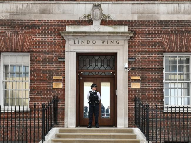 A police officers stands outside the Lindo Wing of St Mary's Hospital in Paddington, London. Picture: Dominic Lipinski/PA via AP