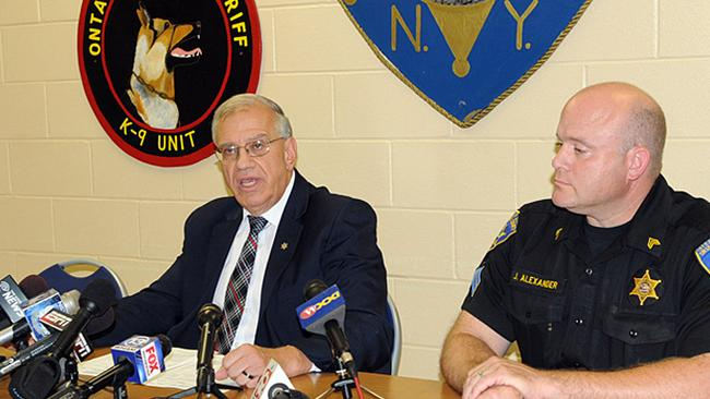 Ontario County Sheriff Philip Povero (L) and Sergeant James Alexander at a news conference Sunday.