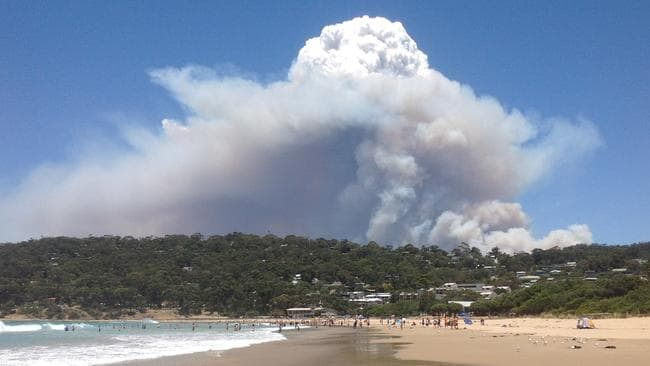 View of the bushfire heading towards Wye River from Lorne beach along Victoria's Great Ocean Road. Picture: Chris Bradley