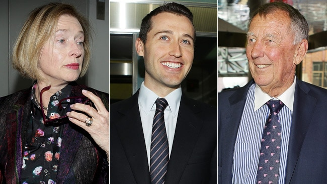 Gai Waterhouse, Tom Waterhouse and John Singleton.