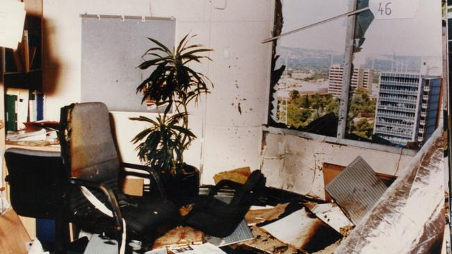 The interior of the NCA office on Waymouth St after the bombing.