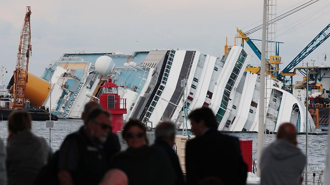 The Costa Concordia wreckage next to the Giglio Island, Italy. Picture: AP