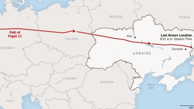 MH17's flight path.
