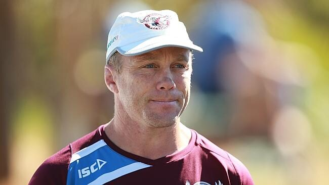 Manly coach Geoff Toovey cracks a 'smile'.