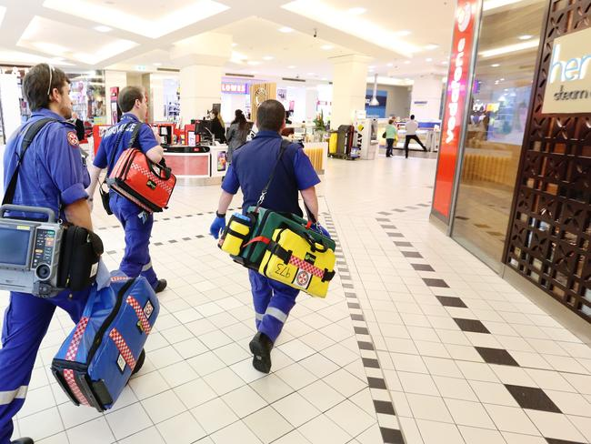 Paramedics arriving after a stabbing in Westfield Parramatta. Picture Craig Greenhill