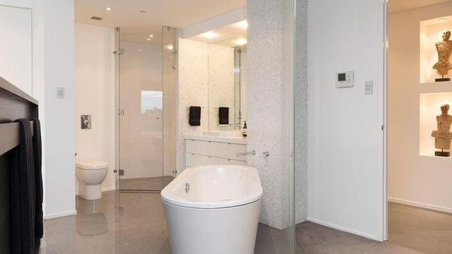 The ensuite in the master bedroom at 901/21 Pixley St, Mortgage broker	Oak Laurel Nundah, 60 London St, Nundah QLD 4012, 0430 129 662 Kangaroo Point. Picture: realestate.com.au.