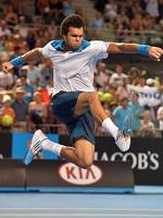 Jo-Wilfried Tsonga celebrates his victory over Thomaz Bellucci.