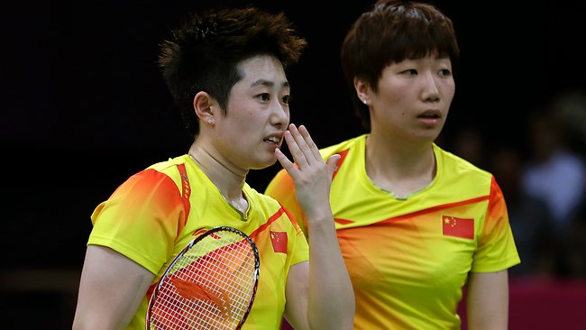 SHOULD WE? China's Yu Yang, left, and Wang Xiaoli talk while playing against Jung Kyun-eun and Kim Ha-na, of South Korea, in a women's doubles badminton match. Both teams were booed loudly at the Olympics on Tuesday for appearing to try to lose. Picture: AP/Andres Leighton