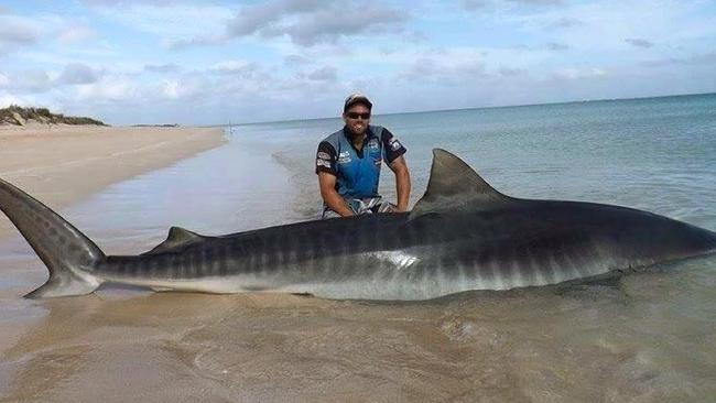 Jethro Bonnichta with a tiger shark caught on the same trip.
