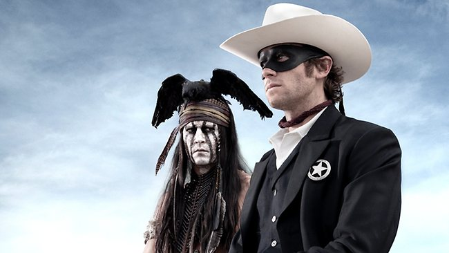"""This undated publicity photo from Disney/Bruckheimer Films, shows actors, Johnny Depp, left, as Tonto, a spirit warrior on a personal quest, who joins forces in a fight for justice with Armie Hammer, as John Reid, a lawman who has become a masked avenger, The Lone Ranger, from the movie, """"The Lone Ranger."""" The film opens nationwide on July 3, 2013. Picture: AP"""