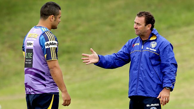 Parramatta coach Ricky Stuart makes a point to Jarryd Hayne during a training session. Picture: Gregg Porteous
