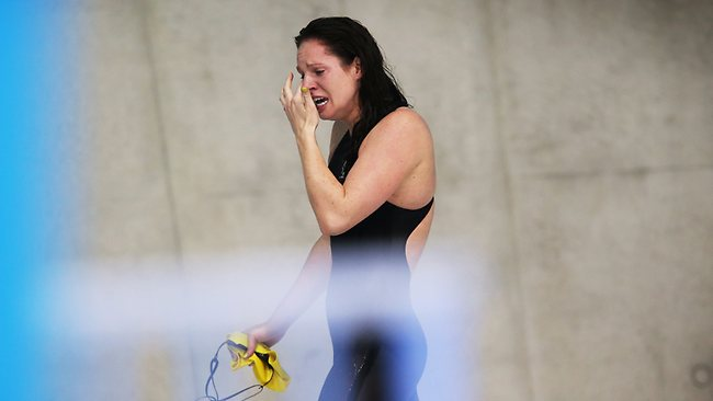 Emily Seebohm was in tears after falling just short of a gold medal. Picture: Phil Hillyard