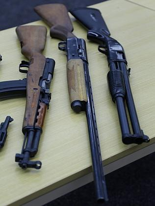 Some of the firearms seized in the raids.