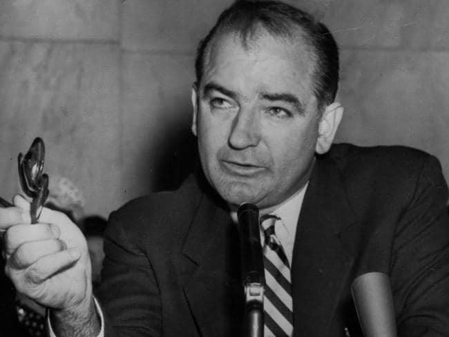 US anti-communist campaigner Senator Joseph McCarthy during a 1954 press conference in Washington.