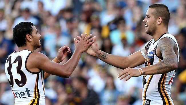 PERTH, AUSTRALIA - APRIL 07: Cyril Rioli and Lance Franklin of the Hawks celebrate a goal during the round two AFL match between the West Coast Eagles and the Hawthorn Hawks at Patersons Stadium on April 7, 2013 in Perth, Australia. (Photo by Paul Kane/Getty Images)